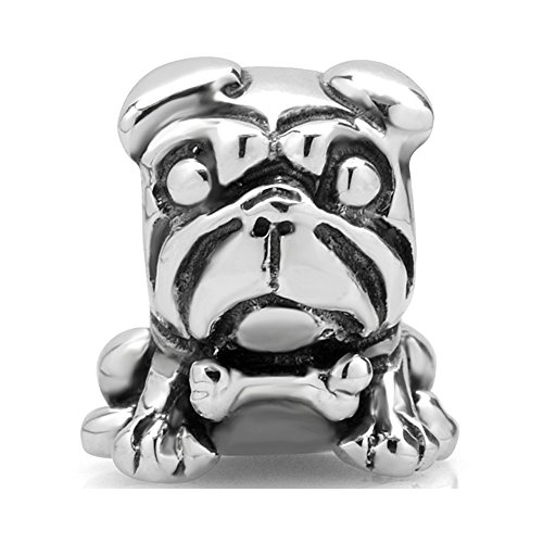 925 Sterling Silver Pug Dog Bead Charm Fit Major Brand Bracelet (Sterling Pug Silver)