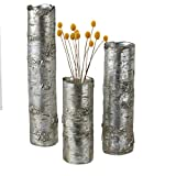 CC Home Furnishings Set of 3 Decorative Rustic Metallic Silver Tree Trunk Flower Vases