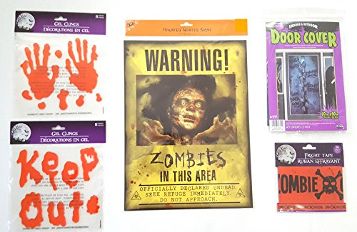 Zombie Bash Party Decorations Bundle - 5 Items: Door Cover, Fright Tape, Warning Sign, 2 Sets of Bloody Window Gel (Day Of The Dead Party Ideas)