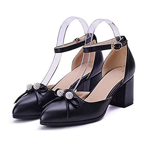 30%OFF VogueZone009 Women's Soft Material Pointed Closed Toe Kitten-Heels Buckle Solid Pumps-Shoes
