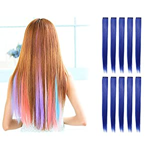OneDor 23 Inch Colored Party Highlights Straight Hair Clip Extensions. Heat-Resistant Synthetic Hair Extensions in Multiple Colors.
