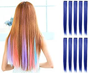 OneDor 23 Inch Straight Colored Party Highlight Clip on in Hair Extensions Multiple Colors (10 Pcs Blue)