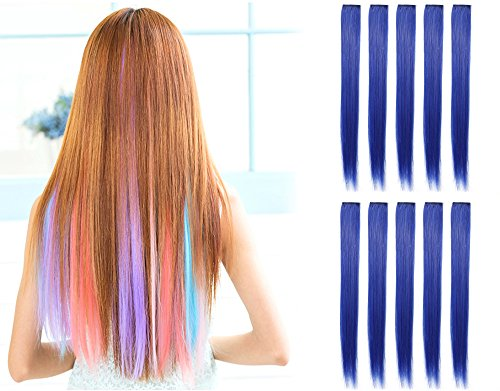 OneDor 23 Inch Colored Party Highlights Straight Hair Clip Extensions. Heat-Resistant Synthetic Hair Extensions in Multiple Colors (10 Pcs Blue) ()