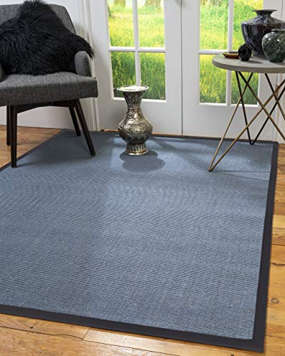 NaturalAreaRugs South Beach Natural Sisal Fiber Rug, Made in USA, Wide Canvas Border, Non-Slip Latex Backing, Durable, Stain Resistant, Earth Eco-Friendly, 5 Feet X 8 Feet