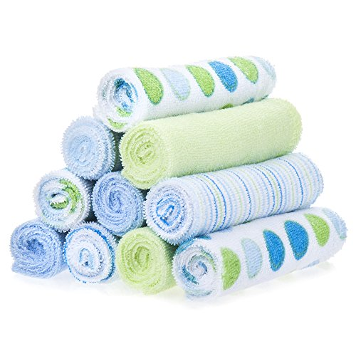 Spasilk 10 Pack Soft Terry Bath Washcloths - Newborn Boy or Girl - Baby Shower Gift