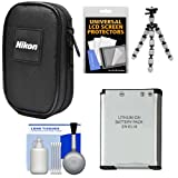 nikon 8000 camera - Nikon Coolpix Nylon Digital Camera Carrying Case with EN-EL19 Battery + Flex Tripod + Accessory Kit for S32, S33, S3700, S7000, A300, W100
