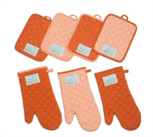 UPC 896794002227, Oven Mitt, Burnt Orange and White Gingham with Solid-color Accents
