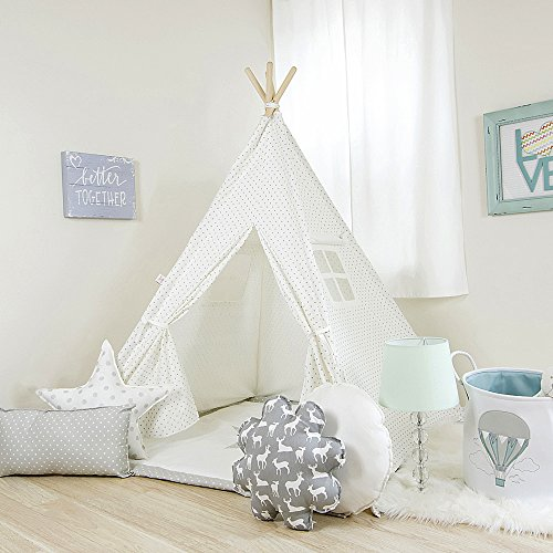 Kids Teepee Tent Comes with a Set of 4 Fun Shaped Pillows, and a Comfy Mat. White w/Gray Mini Dots Teepee Set, Handcrafted Teepee for Kids by Teepee Joy