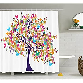 Ambesonne Tree Of Life Decor Collection Abstract Ornate Spring Time With Flowers And Butterflies Happy Branches Home Polyester Fabric Bathroom