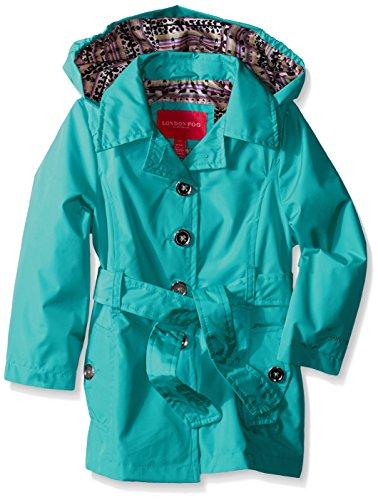 London Fog Big Girls Radiance Trench Coat, Turquoise, 7/8