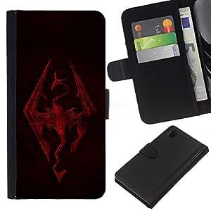BearCase / Cuero de la tarjeta la carpeta del tirón Smartphone Slots Protección Holder /// Sony Xperia Z1 L39 /// Skyrim Dragón