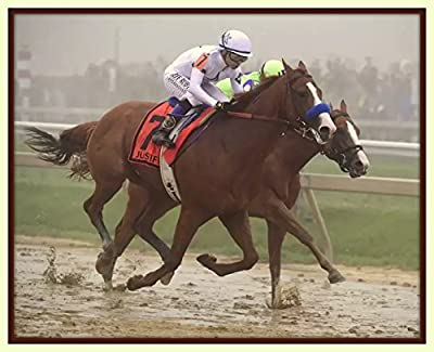 Treasure Chest Shoppe Justify Wins 2018 Preakness Stakes Second Leg of the Triple Crown 11x14 Double Matted 8x10 Photo Print FLYING All 4 Hooves off the Ground