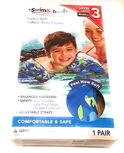 SwimSchool Extra Soft Fabric Arm Float Bands (Blue Shark, 40-80 ()