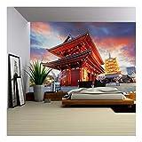 wall26 - Tokyo - Sensoji-Ji, Temple in Asakusa, Japan - Removable Wall Mural | Self-Adhesive Large Wallpaper - 100x144 inches