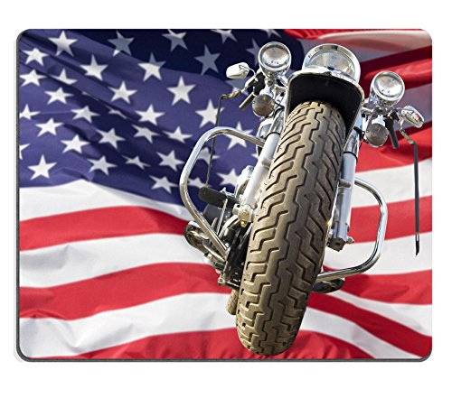 Luxlady Gaming Mousepad Motorcycle with American flag blowing in the