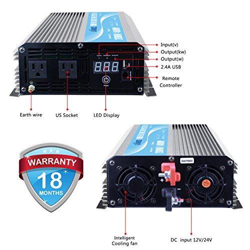 GIANDEL 2000W Power Inverter 12V DC to 110V 120V AC with Remote Control and LED Display Dual AC Outlets & USB Port for RV Truck Boat by Giandel (Image #2)