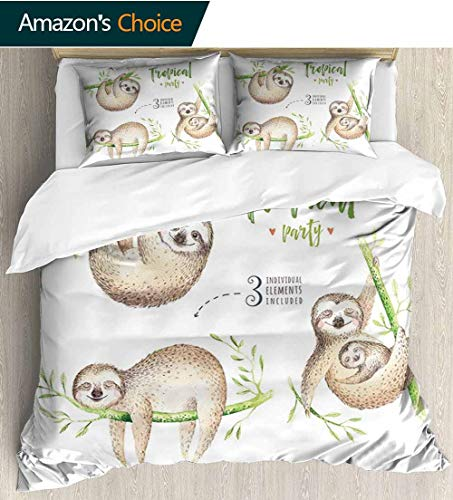 - shirlyhome Sloth Print Comforter Quilt Set,Cute Babies in Tropical Nature Theme Exotic Palm Tree Leaves Nursery Aloha with 1 Pillowcase for Kids Bedding 68