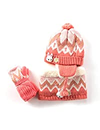 LoveKids Sherpa Lined Printed Hat/Scarf/Glove Knitted Accessory Set for Kids
