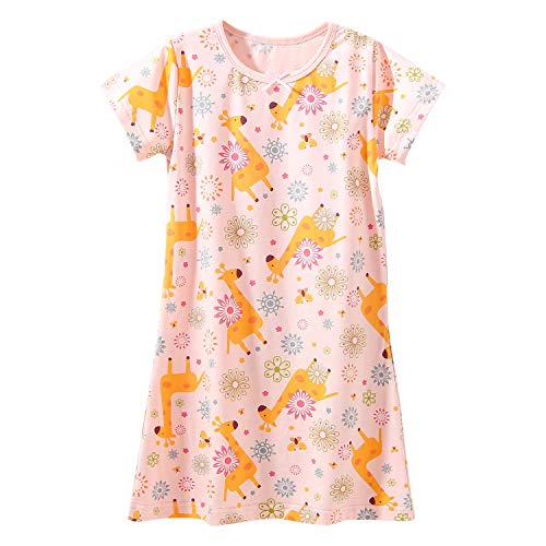 BLOMDE Little Girls' Cotton Nightgowns griaffe Pattern Sleepwear Pink for 5-6 Years