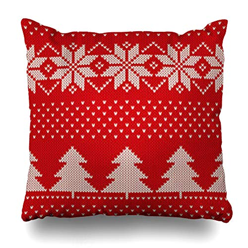 Homeyard Throw Pillow Cover Knitted Red Blizzard Winter Holiday Pattern Snowflakes Forest Christmas Abstract Border Canvas Tree Home Decor Sofa Cushion Square Size 18 x 18 Inches Zippered Pillowcase (Snowflake Zippered Pillowcases)