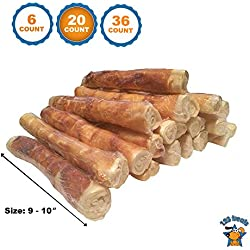 "123 Treats Rawhide and Chicken Twister Retriever Roll 9""-10"" (20 Count) Dog Sticks Packed in the USA - All-Natural Grass-Fed Free-Range Dog Chew"