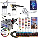 3 Airbrush Professional Master Airbrush Airbrushing System Kit with 6 U.S. Art Supply Primary Colors Acrylic Paint Artist Set - G22