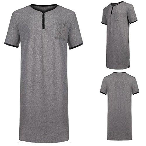 Adidome Mens Cotton Knit Nightshirt Sleep Shirt Comfor Sleepwear Nightwear