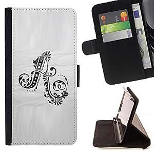 Momo Phone Case / Flip Funda de Cuero Case Cover - Carta del alfabeto inicial Caligrafía Floral - HTC DESIRE 816