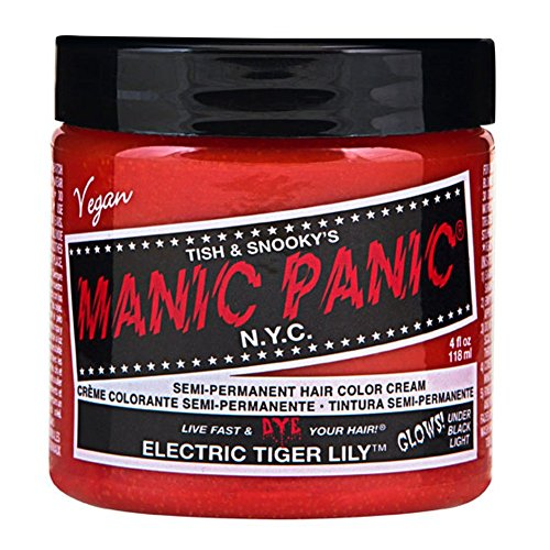 Manic Panic High Voltage Semi-Permanent Hair Color Cream 4oz, Electric Tiger Lily (Glows!)