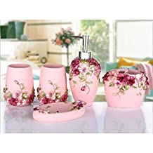 Country Style Resin 5PC Bathroom Accessories Set Soap Dispenser/Toothbrush Holder/Tumbler/Soap Dish (Pink)