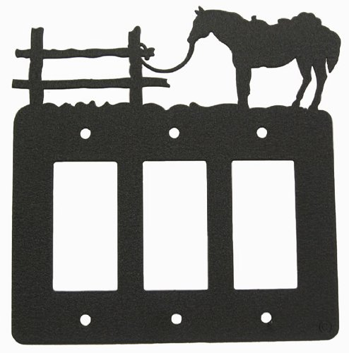 Tethered Horse Triple Rocker/GFI Light Switch Plate Cover