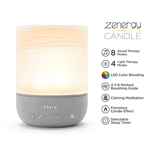 Ihome Lamp - iHome Zenergy Meditative Light & Sound Therapy Candle, Breathe, Sleep and Relax with Adjustable, Customizable Sounds and Lighting (Gray)