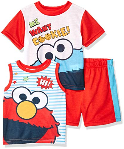 Sesame Street Boys' Toddler Elmo and Cookie Monster 3-Piece Pajama Set, red, 4T (Elmo Easy As Abc)