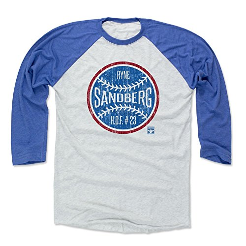 500 LEVEL Ryne Sandberg Baseball Tee Shirt (Medium, Royal/Ash) - Chicago Cubs Raglan Tee - Ryne Sandberg Ball B