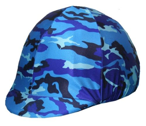 (Equestrian Riding Helmet Cover - Blue Camouflage)