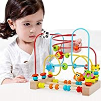 Percetey Wooden Beads Maze Roller Coaster Abacus Game