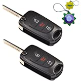 HQRP 2-Pack Remote Flip Folding Key Fob Shell Case Keyless Entry w/3 Buttons for Kia Soul 2010 2011 2012 2013 plus HQRP UV Meter