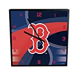 MLB Boston Red Sox Official Carbon Fiber Square Clock, Multicolor, One Size