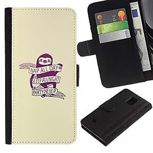 YiPhone /// Tirón de la caja Cartera de cuero con ranuras para tarjetas - Nap Todo el día sueño todo el partido de la noche Nunca - Samsung Galaxy S5 Mini, SM-G800
