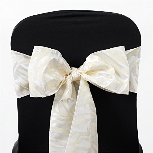BalsaCircle 10 Ivory Zebra Animal Jungle Print Chair Sashes Bows Ties - Wedding Party Ceremony Reception Decorations Supplies