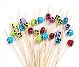 PuTwo Cocktail Picks Handmade Bamboo Toothpicks 100ct 4.7'' in Multicolor Skulls