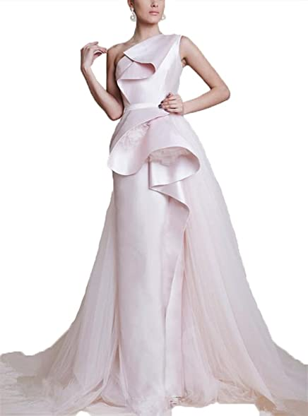 hiprom wedding dresses a line one shoulder tiered stain and tulle