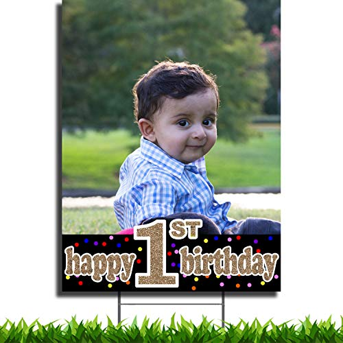 VIBE INK Custom Full Color Happy 1ST Birthday Portrait Plastic Yard Sign 18x24 with Metal H-Stake Stand - Great for Birthday Parties, Small Business, Arts 'n Crafts, Events, Real Estate and More!