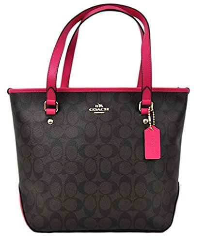 coach-signature-top-zip-tote-brown-pink-ruby