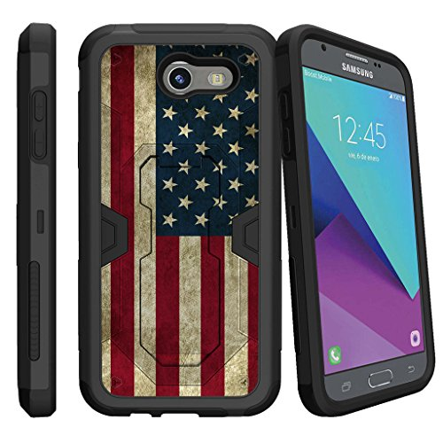 MINITURTLE Case Compatible w/ Case for [Samsung Galaxy J3 Emerge | J3 Prime | J3 Eclipse | Galaxy Luna Pro][MAX DEFENSE] Dual Hybrid Shell w/ Stand and Holster American Flag USA