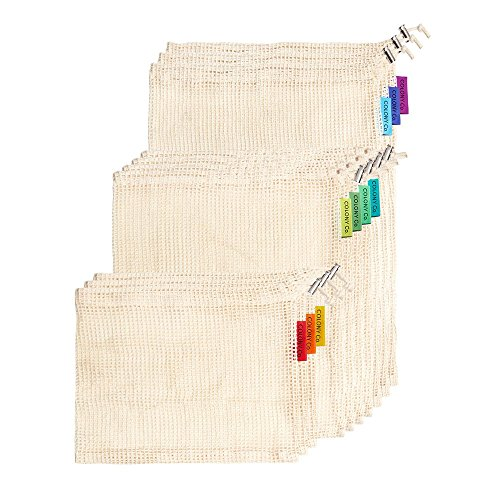 Free Eco Friendly Bags (Reusable Produce Bags | Natural Cotton Mesh is Biodegradable | Our Packaging is Recyclable | Machine Washable | Tare Weight on Label | Strong Double-Stitched Seams | Set of 10)