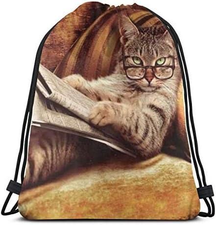 読書本猫巾着バックパックジムダンスバッグショルダートラベルバッグ誕生日プレゼント36 x 43cm