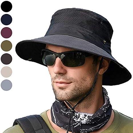 anaoo Sombrero de Hombre Gorra de Verano Sombrero Pesca del Sol Gorra al Aire Libre Sombrero Playa Plegable De ala Ancha Protección UV