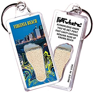 "product image for Virginia Beach ""FootWhere"" Keychain (VB102-PM Oceanfront). Authentic destination souvenir acknowledging where you've set foot. Genuine soil of featured location encased inside foot cavity. Made in USA"