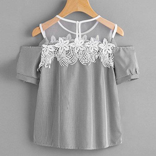 Ularma ❀ Damen Spitze Cold Shoulder T-Shirt mit Mesh Streifen Lace Up Top  Bluse (XXL, Schwarz): Amazon.de: Bekleidung